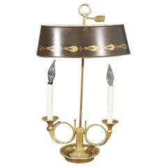 French Empire Tole Painted Metal Shade Brass Bugle Table Lamp, circa 1950s