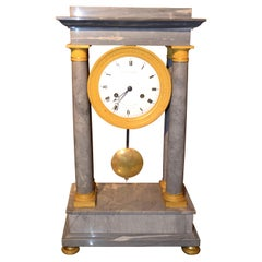 French Empire Turquin Marble and Gilt bronze Portico Clock Stamped Lesieur
