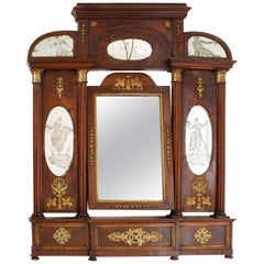 French Empire Vanity Mirror with Original Reverse Etched Glass Panels circa 1800