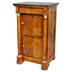 French Empire Walnut Bedside Cabinet