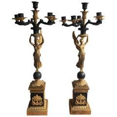 French Empires 19th Century StyleGilt Bronze Angel Winged Candelabras