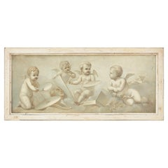 French En Grisaille Oil on Canvas of Cherubs, 19th Century