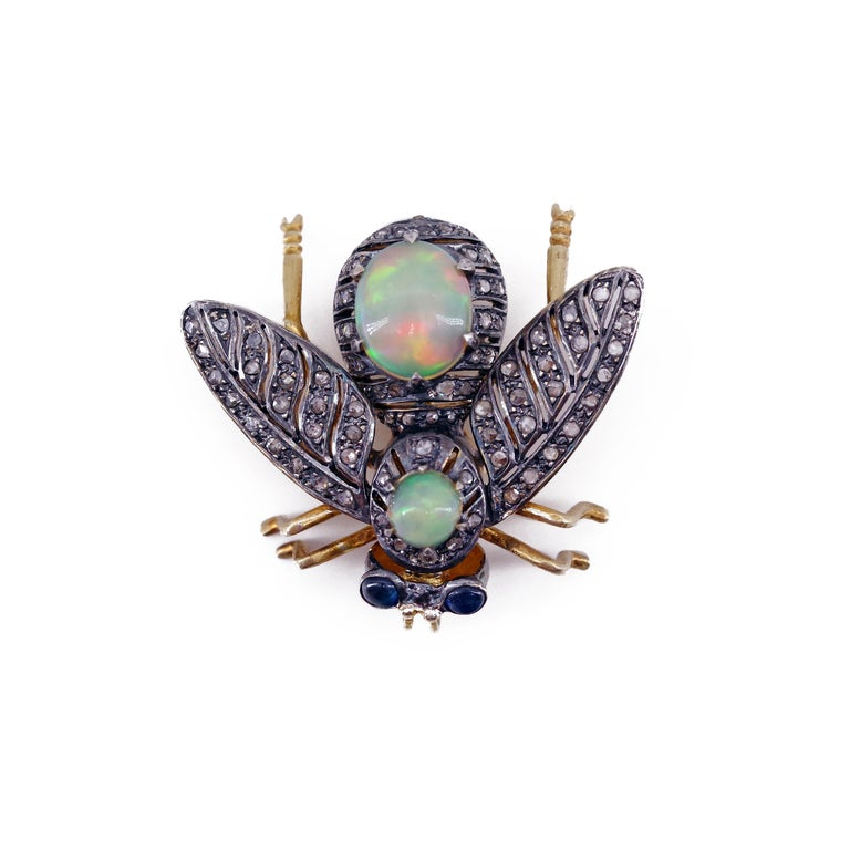 Late Victorian French En Tremblant Fly Pendant or Brooch with Diamonds, Opals, Sapphires For Sale