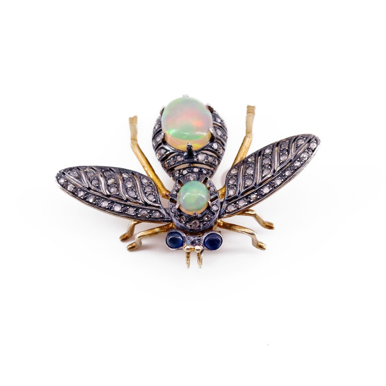 French En Tremblant Fly Pendant or Brooch with Diamonds, Opals, Sapphires In Good Condition For Sale In Southbury, CT