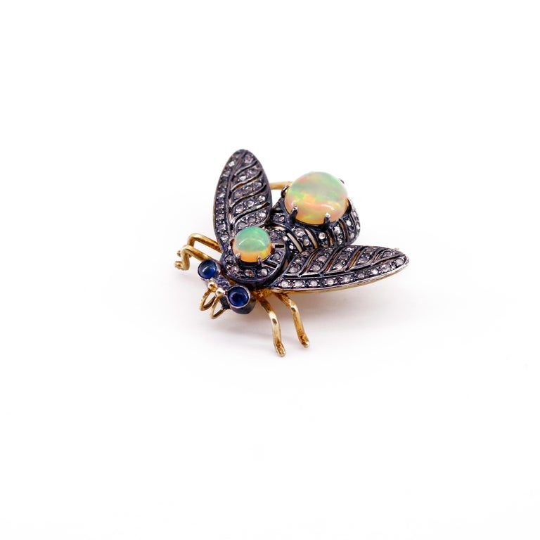 Women's or Men's French En Tremblant Fly Pendant or Brooch with Diamonds, Opals, Sapphires For Sale