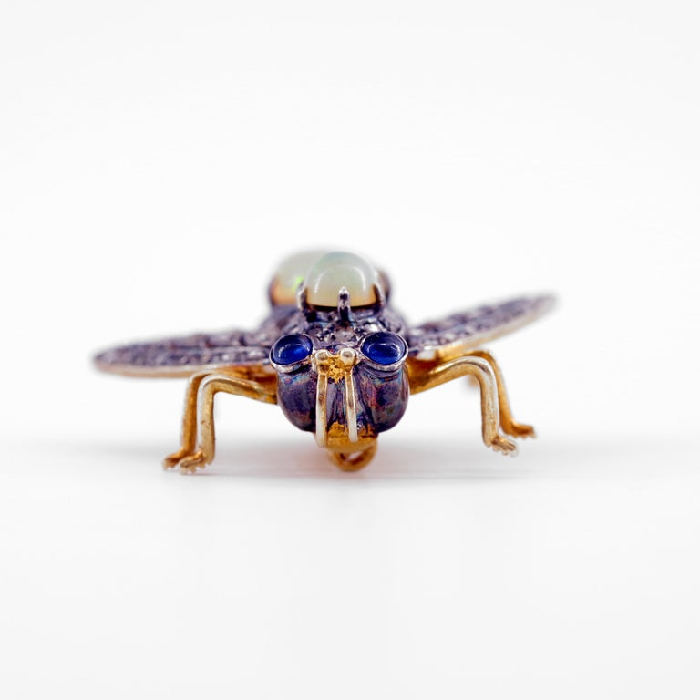 French En Tremblant Fly Pendant or Brooch with Diamonds, Opals, Sapphires For Sale 1