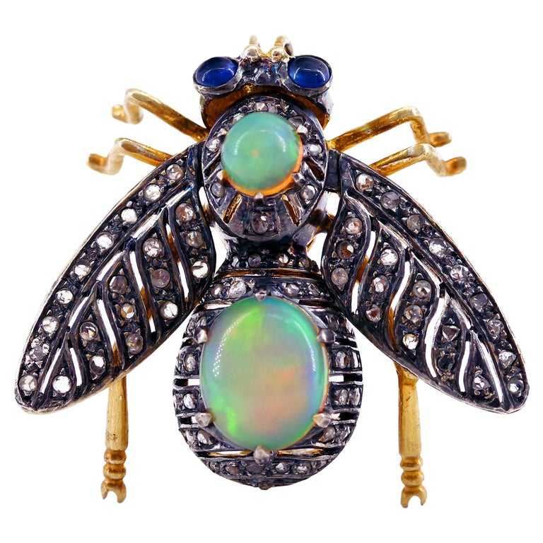 French En Tremblant Fly Pendant or Brooch with Diamonds, Opals, Sapphires For Sale