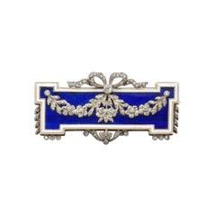 French Enamel Diamond 18k Gold Brooch, circa 1905