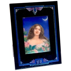 French Enamel Portrait Plaque of 'Night' in Enamel Frame