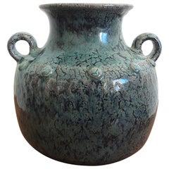 French Enameled Earthenware Vase, Puisaye, 1960s