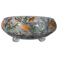 French Enameled Glass Footed Bowl, Sevres, circa 1930