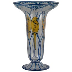 French Enameled Glass Vase, Marcel Goupy, circa 1910