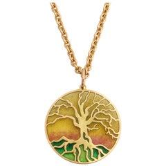 French Enameled Gold Tree of Life Pendant, Paris, 21st Century