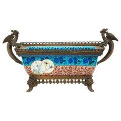 French Enameled Porcelain / Bronze Mounted Framed Centerpiece