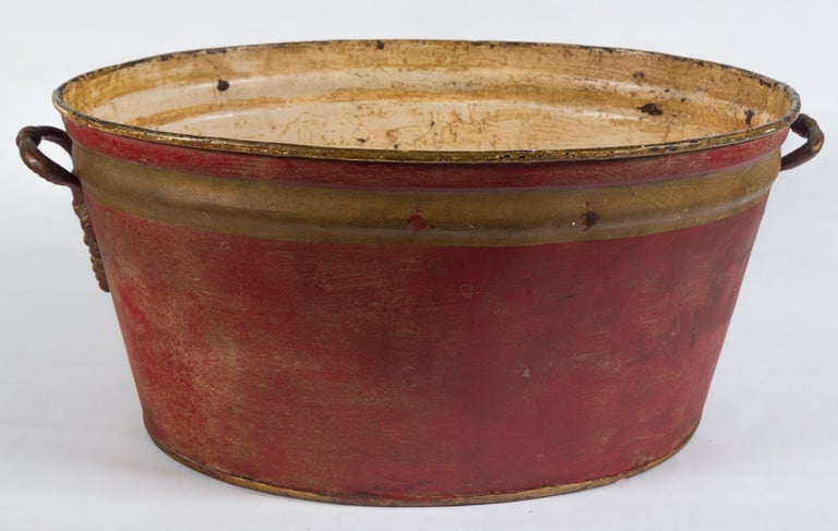 Metal French Enamelware Basin, Early 20th Century For Sale