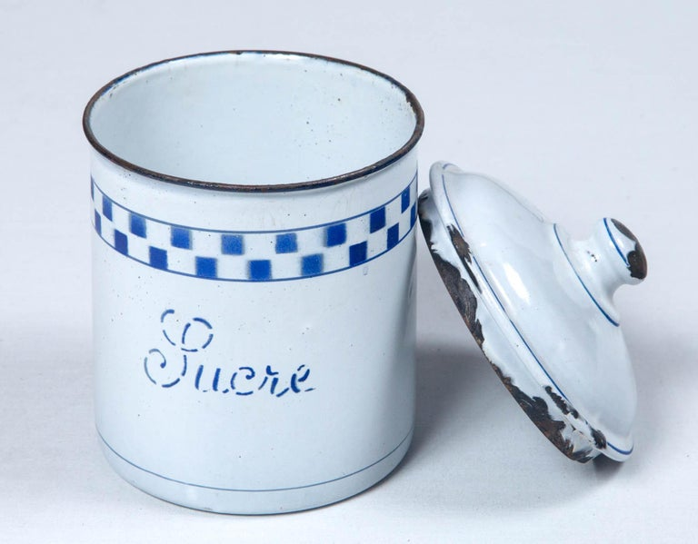 French Enamelware Cannister Set, circa 1920 For Sale 6