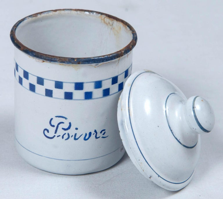 20th Century French Enamelware Cannister Set, circa 1920 For Sale
