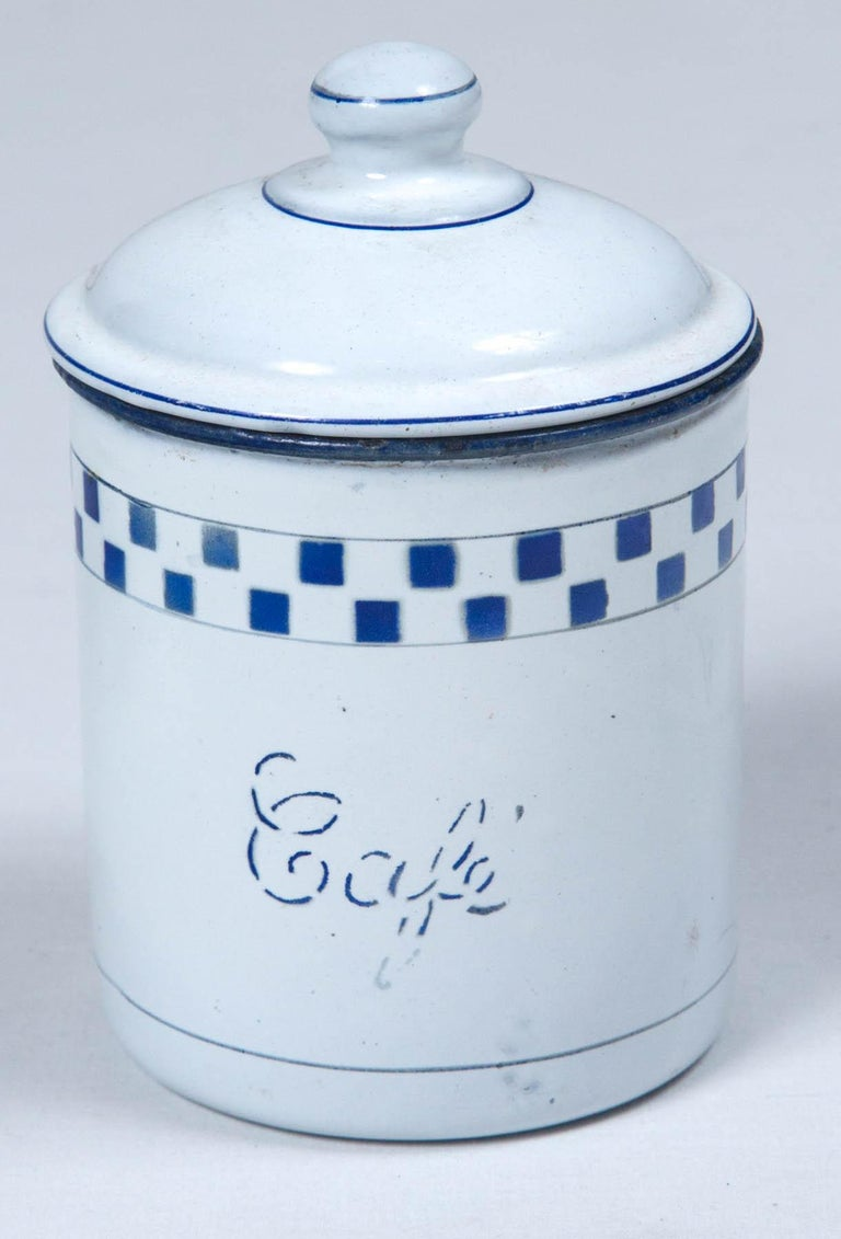 French Enamelware Cannister Set, circa 1920 For Sale 1