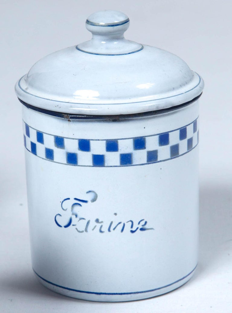 French Enamelware Cannister Set, circa 1920 For Sale 3
