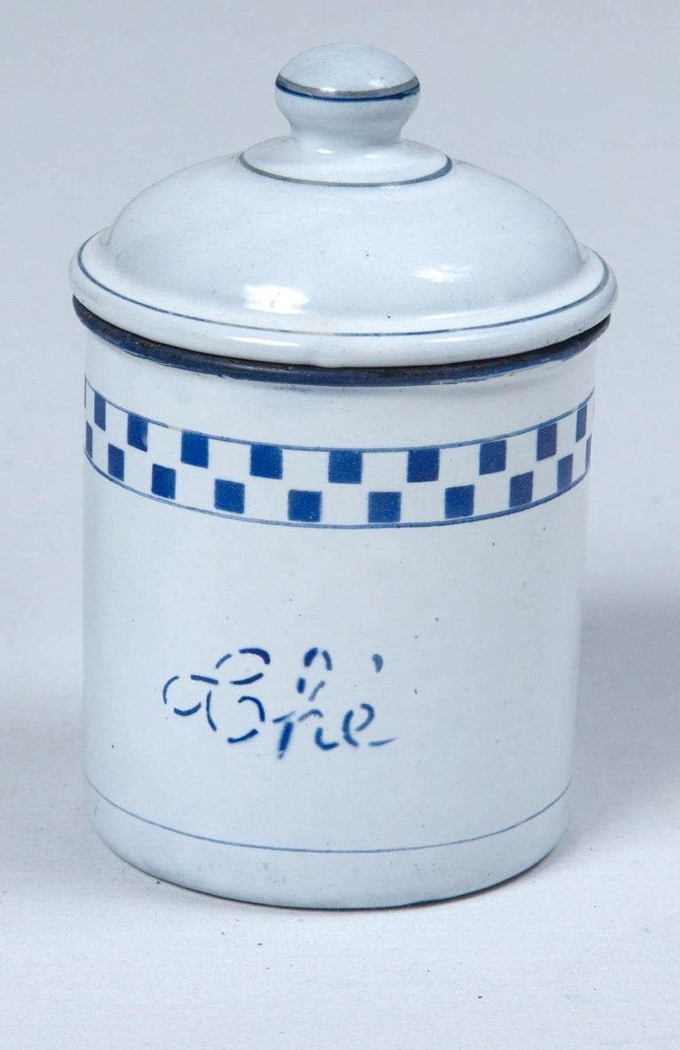 French Enamelware Cannister Set, circa 1920 For Sale 4