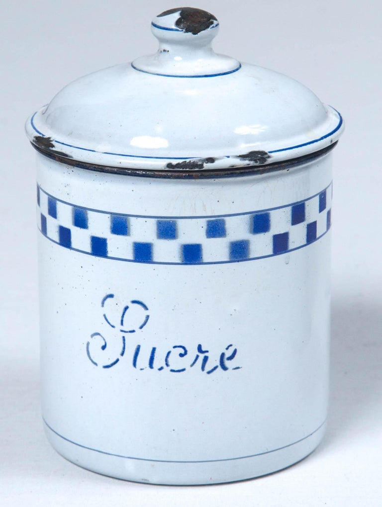French Enamelware Cannister Set, circa 1920 For Sale 5