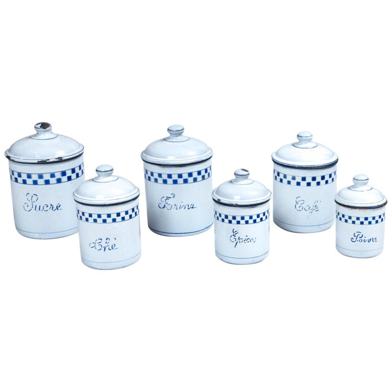 French Enamelware Cannister Set, circa 1920 For Sale