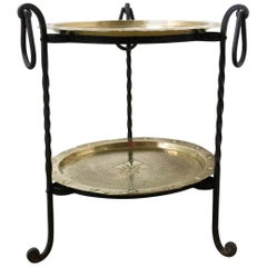 French End, Coffee or Side Table Two Removable Copper Trays Wought Iron, c. 1960