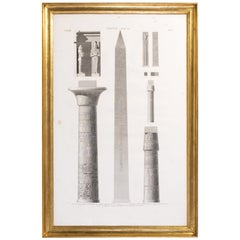 French Engraving Architectural Elements of the Temple of Karnak in Luxor