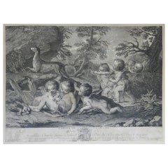 French Engraving L'amour Du Chasse Distressed Decorative 18th Century Cherubs