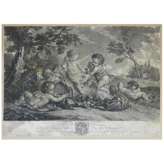 French Engraving L'Amour du Vin Distressed Decorative 18th Century Cherubs