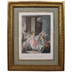 "French Engraving, ""Le Premier Pas a la Fortune"" in Gilded Frame"