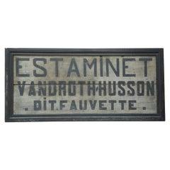 French Estaminet  bar Wood Sign 1950s