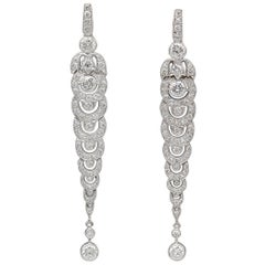French Estate Diamond and 18 Karat White Gold Drop Earrings