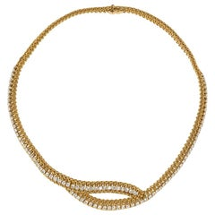 French Estate Woven Gold and Brilliant Cut Diamond Crossover Necklace