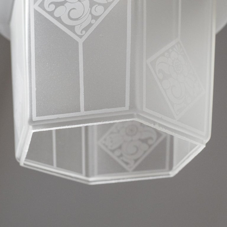 French Etched Glass Lantern, 1940s For Sale 5