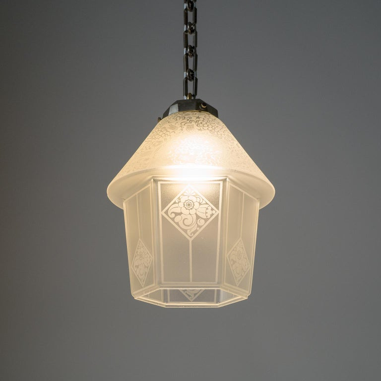 French Etched Glass Lantern, 1940s For Sale 6