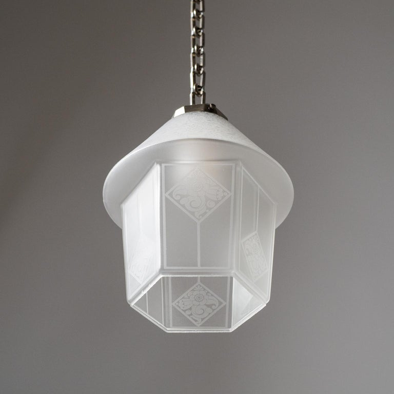 French Etched Glass Lantern, 1940s For Sale 7