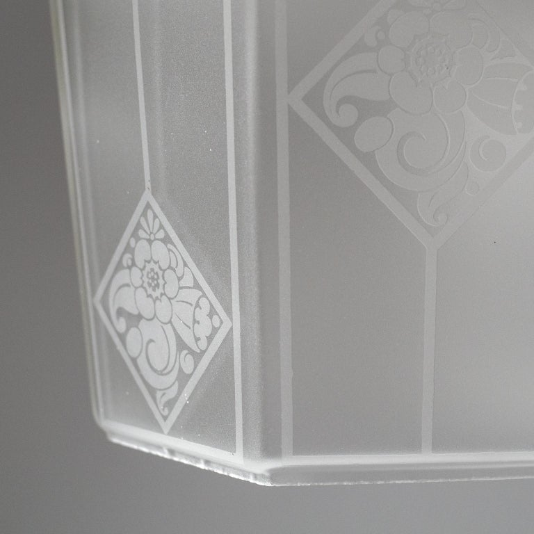 Mid-20th Century French Etched Glass Lantern, 1940s For Sale