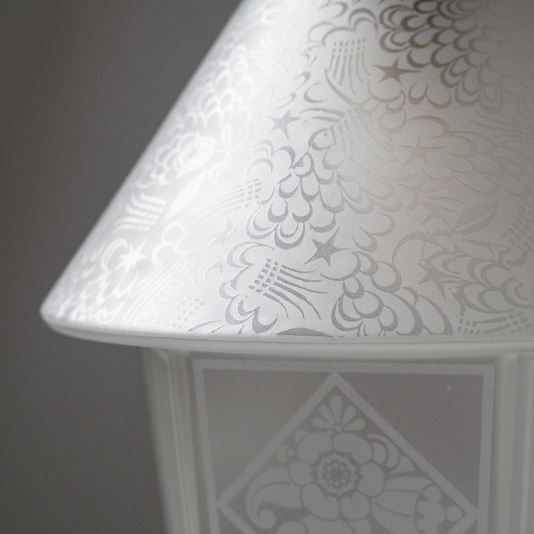 French Etched Glass Lantern, 1940s For Sale 1