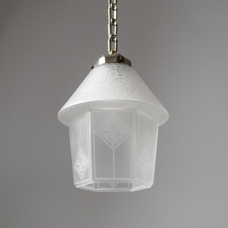 French Etched Glass Lantern, 1940s For Sale 3