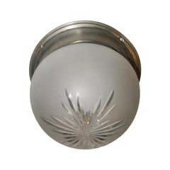 French Etched Glass Light Fixture