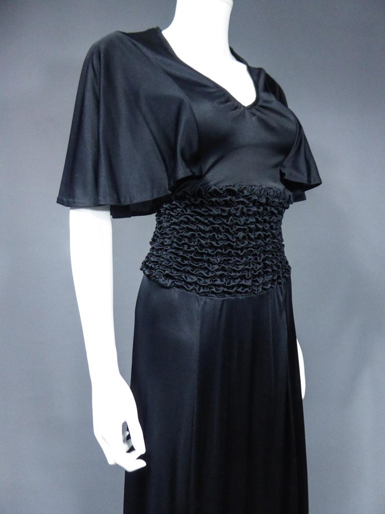 French Evening Dress in Smocked Jersey Circa 1990 For Sale 5