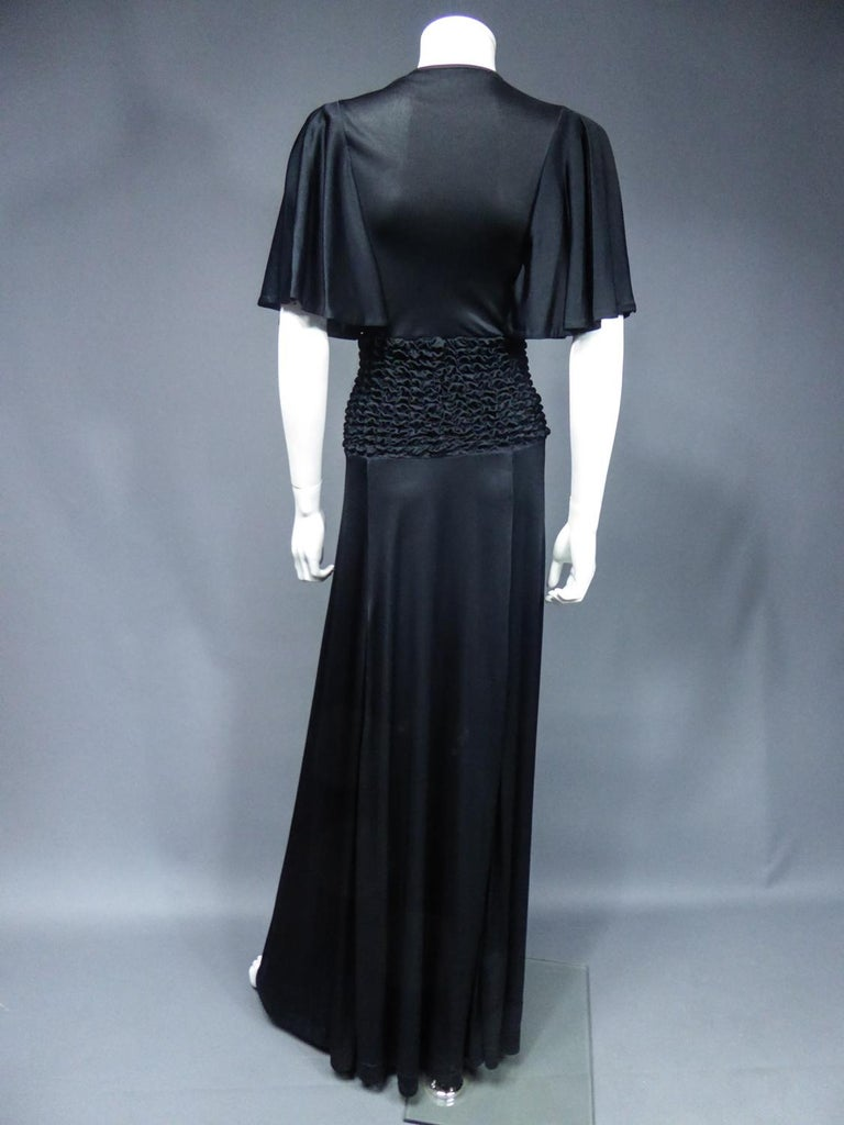 French Evening Dress in Smocked Jersey Circa 1990 For Sale 6