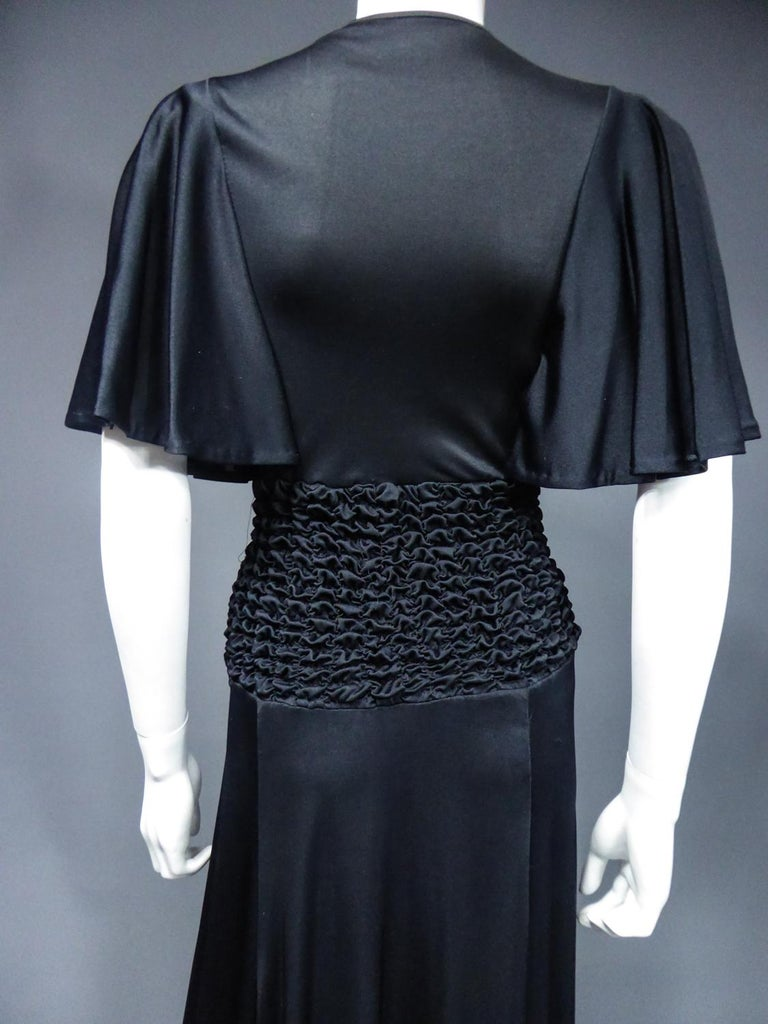 French Evening Dress in Smocked Jersey Circa 1990 For Sale 7