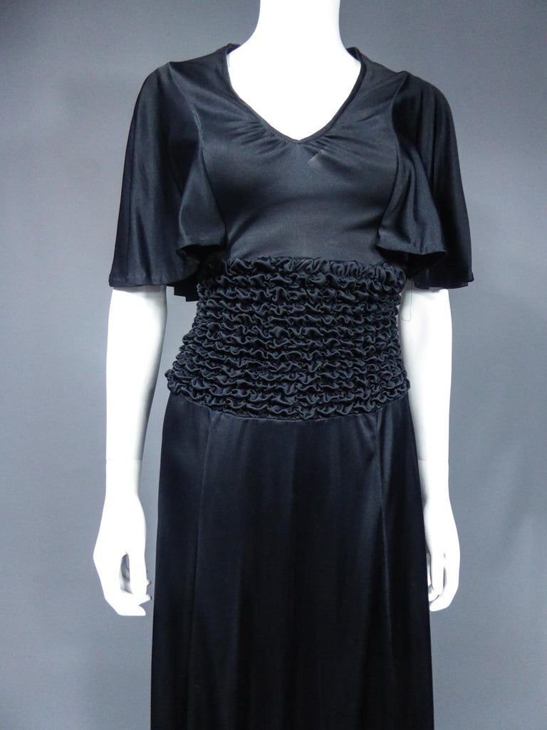 French Evening Dress in Smocked Jersey Circa 1990 In Excellent Condition For Sale In Toulon, FR
