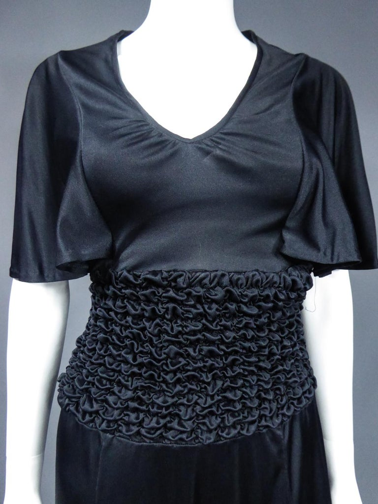 Women's French Evening Dress in Smocked Jersey Circa 1990 For Sale