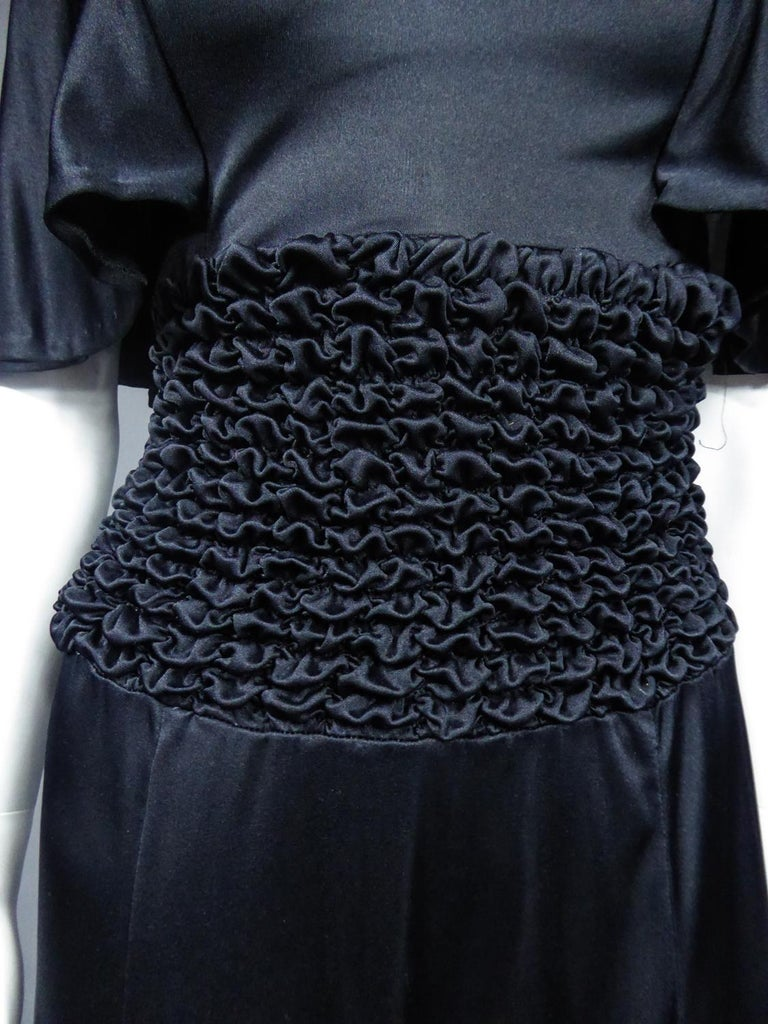 French Evening Dress in Smocked Jersey Circa 1990 For Sale 1