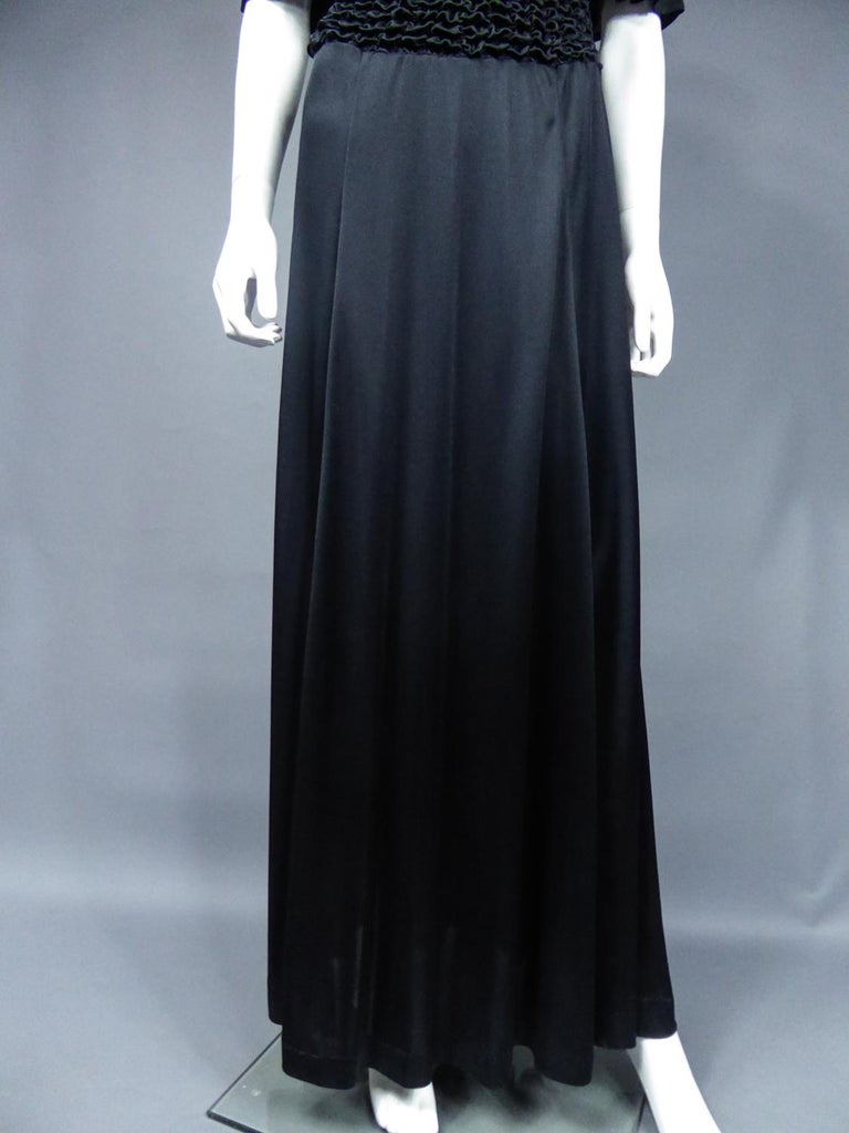 French Evening Dress in Smocked Jersey Circa 1990 For Sale 3