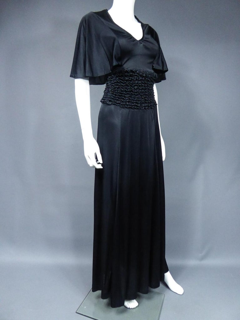 French Evening Dress in Smocked Jersey Circa 1990 For Sale 4