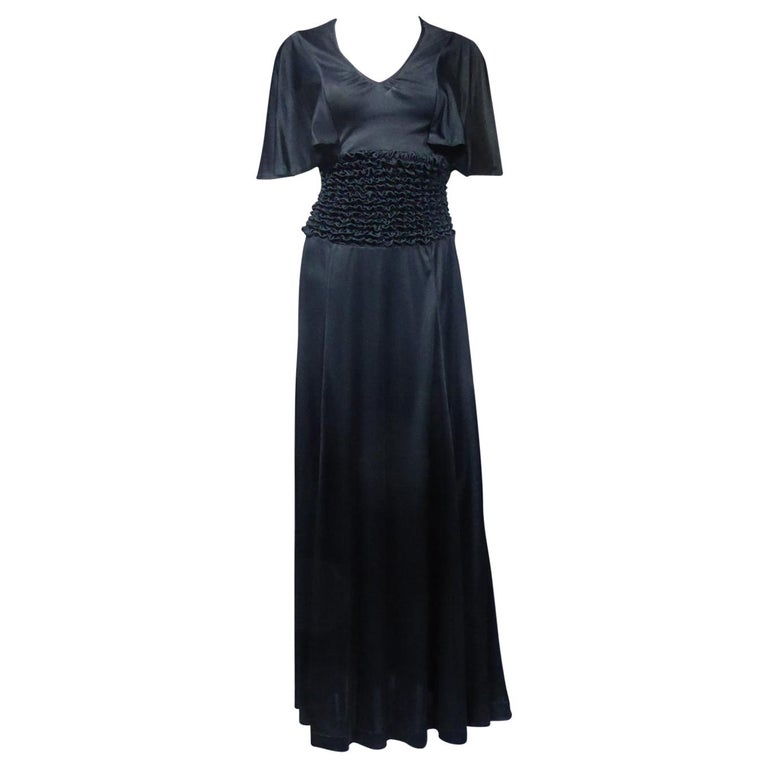French Evening Dress in Smocked Jersey Circa 1990 For Sale